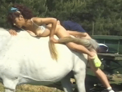Bestialitylovers with couple getting on horse